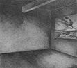 Thumbnail of Interior Space with drawing of Mt. Aetna: drawing by Ethel Fisher, 1977, of an Interior Space, graphite on Arches paper, 20 x 14 (9 x 10) inches, mid-twentieth century drawing on a theme of architecture.