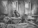 Thumbnail of Private Room: drawing by Ethel Fisher, 1975, of an Interior with Figure at Window, graphite on Arches paper, 20 x 14 (6.75 x 8.75) inches, mid-twentieth century drawing on a theme of architecture.
