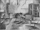 Thumbnail of Studio Interior Los Angeles: drawing by Ethel Fisher, 1975, of Los Angeles studio with mid-century modern furniture, graphite on Arches paper, 20 x 14 (6.75 x 9) inches, mid-twentieth century drawing on a theme of architecture.